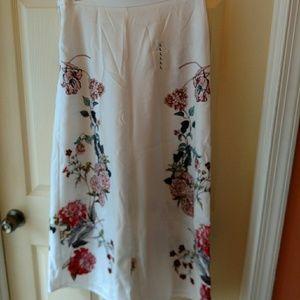 Pants - White sheer botanical floral cullottes size L